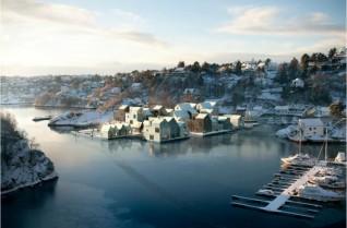 Strusshamn. Eriksen Skajaa Arkitekter i samarbeid med Bjørbekk og Lindheim Landskapsarkitekter. Illustrasjon: Mir Visuals
