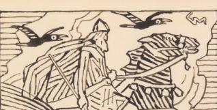 "Forarbeid  til vignett til ""Harald Hårfagres saga"" i Snorre Sturlason, Kongesagaer, Kristiania. 1899. 114 x 141 mm. Foto: Nasjonalmuseet."