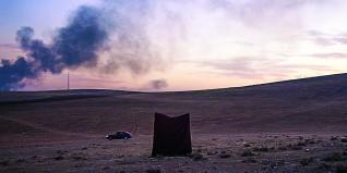 Savas Boyraz –The Triptych (2015), tredelt videoinstallasjon: Kobane (2014, 3:31 min, i samarbeid med Martin Nordström), gjengitt med tillatelse fra kunstneren