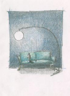 """""""Angsten står i sofaen"""", designskisse, Kine Liholm"""