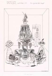 """Finn Graff, 1981 """"Og nå kom det inn et bord som var dekket med de kosteligste retter, og med øl og brennevin Til """"""""Den syvende far i huset"""""""" i Asbjørnsen og Moe.  Det var engang…  Oslo: Grøndahl & Søn, 1982 """""""