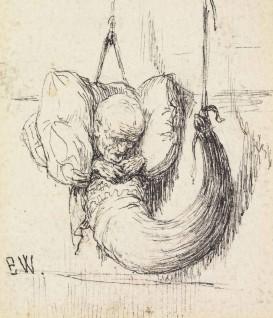 """Erik Werenskiold, 1879 """"Den syvende far i hornet Til """"""""Den syvende Fa'r i Huset"""""""" i P. Chr. Asbjørnsen,  Norske Folke- og Huldreeventyr i Udvalg,  København: Gyldendal, 1879 """""""