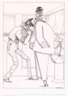 """Finn Graff, 1981 """"Så kom Gammel-Erik farende i et vindkast og hugg skipperen i trøyekraven Til """"""""Skipperen og Gammel-Erik"""""""" i Asbjørnsen og Moe.  Det var engang…  Oslo: Grøndahl & Søn, 1982"""""""
