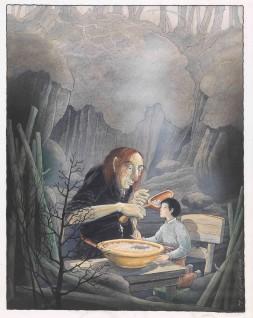 """Harald Nordberg 2006 """"Du skal ete! svarte gutten - jeg er snaut halvmett ennå, jeg Til """"""""Askeladden som kappåt med trollet"""""""" i Den store Asbjørnsen og Moe boka.  Oslo: Aschehoug, 2006"""""""
