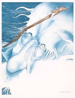 """Rune Johan Andersson, 1990 """"Ja, nå har jeg ikke annet å gi deg"""""""", sa nordenvinden, """"""""enn den gamle kjeppen"""""""" Til """"""""Gutten som gikk til nordenvinden""""""""  i Asbjørnsen og Moe, Gutten som gikk til nordenvinden og krevde igjen melet,   Oslo: Cappelen, 1990"""""""