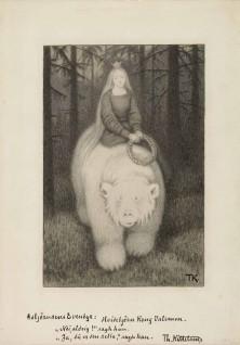 """Theodor Kittelsen, 1907 """"Har du sittet mjukere, har du sett klarere,"""""""" spurte han. """"""""Nei, aldri!"""""""" svarte hun, Til """"""""Kvitebjørn Kong Valemon"""""""", P. Chr. Asbjörnsen, Illustrerede eventyr. Udvalgte folkeeventyr, II. Samling.  Kristiania og København: Gyldendal, 1907"""""""