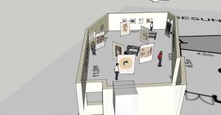 Sketch up illustrasjon av mulig oppsett av utstillingen. Illustrasjon og design: Ragna Jacobsen