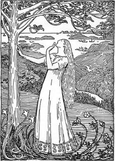 Erik Werenskiold, Dronning Ragnhilds drøm (1899), penn og pensel på papir, privat eie.